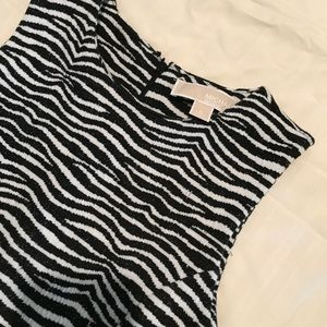MK fit and flare black/white dress
